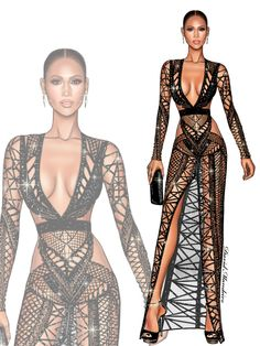 @Jennifer Lopez at #LatinBillboards2017 #Mirate WEARING: @julienmcdonald @jimmychoo @lynn_ban #digitaldrawing by @David Mandeiro Illustrations @Wacom #digitaldrawing #JulienMcDonald