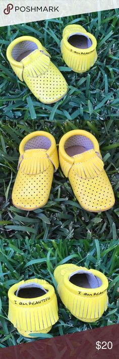 """I am beautiful"" moccasins Absolutely adorable! These bright yellow leather moccasins are perfect for spring and summer! Only worn once! 🍋🍋🍋 Shoes Moccasins"