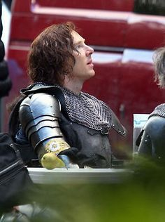 September 2014 ~ Benedict Cumberbatch on the set filming Richard III for the BBC's The Hollow Crown series. --- Benedict in armour.