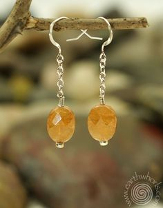 Mandarin garnet and sterling silver earrings by EarthWhorls.  $25.00 Free shipping - Shop Small!  https://earthwhorls.com/collections/earrings/products/3076se