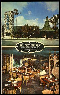 """1959 souvenir menu mailer for """"Luau"""""""