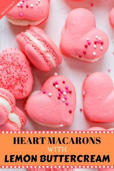 Heart Macarons are easier than you think! Heart-shaped macarons with tangy-sweet lemon buttercream. Valentines Baking, Valentines Day, Pink Gel, Homemade Macarons, Lemon Tea Cake, Heart Shaped Cakes, Lemon Buttercream, Salty Cake, Almond Cookies