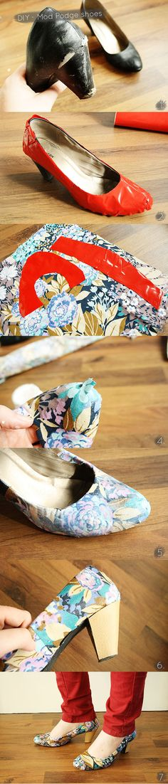 Redo Old Shoes with Fabric crafts craft ideas easy crafts diy ideas diy clothes easy diy diy fashion diy shoes craft clothes fashion diy --/ wanna do this with flats. Diy Mod Podge, Mod Podge Fabric, Shoe Crafts, Clothes Crafts, Shoe Makeover, Diy Vetement, Do It Yourself Fashion, Old Shoes, Easy Diy Crafts