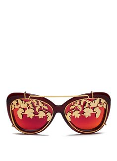 8121c5faa123 Matthew Williamson | Red X Linda Farrow Leaf Cutwork Clip-on Acetate  Sunglasses | Lyst