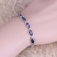Gracious Rainbow Created Topaz 925 Sterling Silver  Link Chain Bracelet 7 inch  S0338