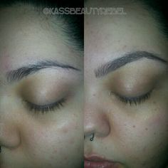 My first Eyebrow Extension application.  As you can see it's a subtle change because all I did was fill in the bald gaps and gave form to the front of  the brows. Can't wait to start helping others with brow problems.  This is semipermanent,  they will last 2-3 weeks depending on home maintenance. Will soon be taking appointments. #brows #perfectbrows #eyebrows #eyebrowextensions #extensions #onfleek #natural #certified #beforeandafter #frameworksalon