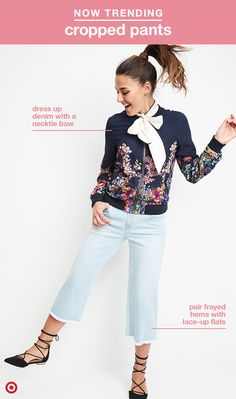 If you're rocking denim every day, these wide-leg jeans might be your new wardrobe essential. Just make sure the hem hits right above the skinniest part of your ankle and pair them with your favorite shoes for the perfect look. Make your outfit spring style friendly with a floral bomber jacket, too!
