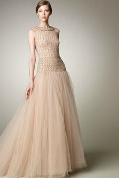 Breathtaking Organza Floor-length Evening Wear with Exquisite Beadings
