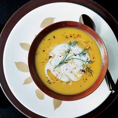 Gingered Butternut Squash Soup with Spicy Pecan Cream Recipe - Dean Fearing   Food & Wine