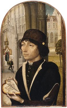 Young Man Holding a Book, ca. 1480  Master of the View of Sainte-Gudule (Netherlandish, active ca. 1485)  Oil on wood    Overall, with arched top, 8 1/4 x 5 1/8 in. (21 x 13 cm); painted surface 8 1/8 x 5 in. (20.6 x 12.6 cm)  Bequest of Mary Stillman Harkness, 1950 (50.145.27)