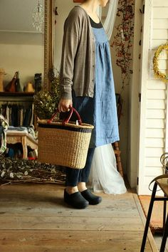 "Okay. This would be my idea ""uniform"". Black tee under denim pinafore, cardi and even the basket - everything is PERFECTION."