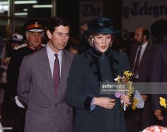 British Royalty, Leeds, England, 29th March 1982, Princess Diana, pregnant with Prince William, walks with Prince Charles, Diana is wearing a hat by John Boyd and a coat by Belville Sassoon