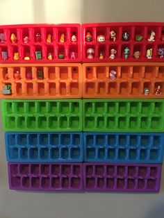 Shopkins, littlest pet shop, tsum tsum storage!! Ice cube trays from the dollar store for the win!