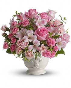 Order Teleflora's Pink Potpourri Bouquet with Roses from Exotic Flowers, your local Boston florist. Send Teleflora's Pink Potpourri Bouquet with Roses for fresh and fast flower delivery throughout Boston, MA area. Pink Flower Arrangements, Vase Arrangements, Centerpieces, Funeral Flowers, Wedding Flowers, Silk Flowers, Beautiful Flowers, Flowers Vase, Bouquet Flowers