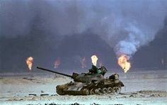 A destroyed Iraqi tank in Kuwait during the 1991 Gulf War.  http://www.historyguy.com/gulf_war_images_pictures.htm