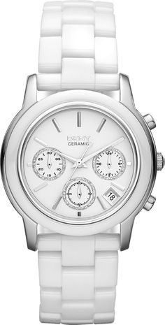 women watches   White watches DKNY Chronograph White Ceramic Ladies Watch NY831