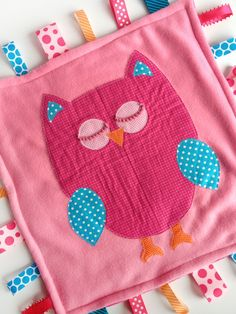 Minky Fleece Owl Tag Blanket in Hot PInk and Turquoise on Light Pink