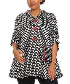 White & Black Abstract Jacket - Plus #zulily #zulilyfinds