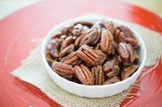 These Candied Pecans are so delicious and easy to make with only five ingredients. They make the perfect snack or salad garnish.