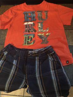 Boys Hurley Outfit Shortsleeve Shirt Size 5t Navy Plaid Shorts Size 4t  | eBay