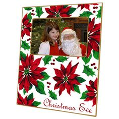 Poinsettia Picture Frame With or Without Personalization. Let special memories be part of your holiday decor or share them with others with photos displayed in this unique personalized frame. Handmade by an artist known for her decoupage process, the frame captures the Christmas spirit with brilliant red poinsettias and rich green leaves against a white background. It is trimmed in an antique brushed gold for an elegant look. Frame may be personalized with either a monogram (enter initials…