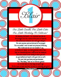 8x10 Birthday POEM great as a centerpiece, book insert, gift for your little one MODERN BEBE. $7.00, via Etsy.