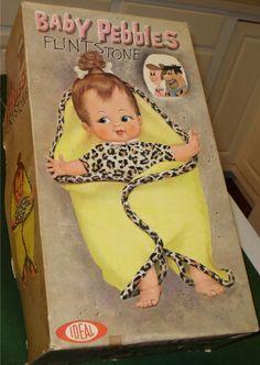 Baby Pebbles Flintstone Doll box Z 1960s Toys, Retro Toys, My Childhood Memories, Childhood Toys, Antique Dolls, Vintage Dolls, Vintage Stuff, Vintage Ads, Vintage Items