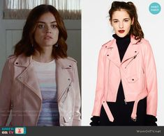 Aria's purple ombre top and pink leather jacket on Pretty Little Liars.  Outfit Details: https://wornontv.net/69439/ #PLL