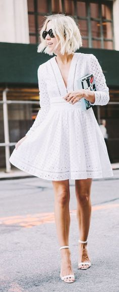 White Eyelet Dress # In Dior Trends Of Summer Apparel Eyelet Dress White Dress Must-Have Dress 2015 Dress Where To Get Dress How To Style Little White Dresses, White Outfits, Cool Outfits, Summer Outfits, White Summer Dresses, Summer Work Outfits Office, White Dress Outfit, Dress Black, Casual Outfits