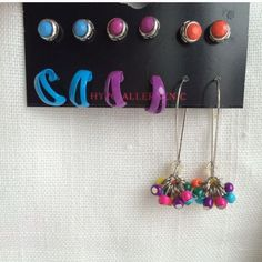 New Multi-Colored Earrings Set Of 6 Pairs
