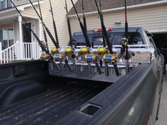 truck bed toolbox rod rack - The Hull Truth - Boating and Fishing Forum Truck Fishing Rod Holder, Fishing Rod Stand, Surf Fishing Rods, Fishing Pole Holder, Fishing Cart, Fishing Rod Storage, Fishing Rods And Reels, Fishing Tips, Fishing Stuff