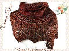 Merino Wool Crescent Shawl Lace border Rust Brown hand knit Malabrigo Rios Yarn Marte #cpromo