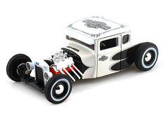 1929 Ford Model A Harley Davidson 1/24 White w/ Black