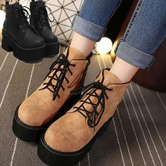 Women's Gothic Round Toe Riding Boots Punk Chunky Block Heel Lace Up Ankle Boots Punk Shoes, Lace Up Ankle Boots, Gothic Outfits, Prompt, Shopping Hacks, Block Heels, Black And Brown, Riding Boots, Oxford Shoes