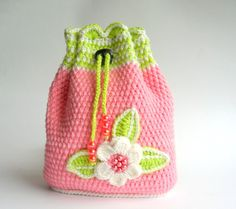 Two of my favorite colors, pink and green, plus beads? A winner in my book! Backpack for girl by InaCrochet.