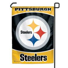 """NFL Pittsburgh Steelers Garden Flag by WinCraft. $11.09. Made in USA. Perfect for the No.1 fan. Indoor or outdoor use. Decorated with full color graphics. Machine Washable. Officially licensed garden flag. Durable polyester flag measures 11"""" x 15"""". Machine washable. Designed to hang vertically from a garden flag pole or inside as wall decor. Made in USA.. Save 15% Off!"""