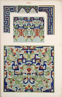 Examples of Chinese ornament, selected from objects in the South Kensington Museum and other collections : [estampe] / by Owen Jones -- 1867 -- images Chinese Design, Asian Design, Chinese Art, Chinese Culture, Chinese Style, Pattern Art, Print Patterns, Chinese Ornament, Chinese Prints