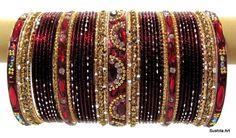 Indian Ethnic METAL Bridal Bangles Bracelet Set Decorated with AD stones and Kundan. Bangle Set, Bracelet Set, Bridal Bangles, Ethnic Wedding, Bollywood Jewelry, Metal Bracelets, Indian Ethnic, Bridal Make Up, Indian Bridal
