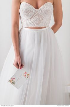 Beautiful two piece wedding dress with sweet heart bodice and soft tulle skirt Wedding Dresses 2018, Wedding Dress Styles, Wedding Attire, Yes To The Dress, I Dress, Two Piece Wedding Dress, Amazing Weddings, Wedding Wishes, Summer Wedding
