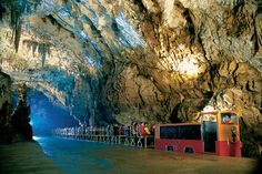 Postojna Limestone Cave - Slovenia * The limestone cave is Europe's most expansive, measuring 67, 487 feet long and 377 feet deep.  Guided tours through the wonderland of stalactities and stalagmites are conducted by miniature electric trains.