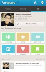 """Foursquare is a location-based social networking website for mobile devices, such as smartphones. Users """"check in"""" at venues using a mobile website, text messaging or a device-specific application by selecting from a list of venues the application locates nearby.[3] Location is based on GPS hardware in the mobile device or network location provided by the application. Each check-in awards the user points and sometimes """"badges""""."""