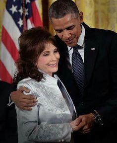 Loretta Lynn with President Barack Obama Wednesday November 20th 2013, Presidential Medal of Freedom ceremony