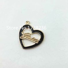Gold Plated Enamel Finish Diy Jewelry Making Heart Charm