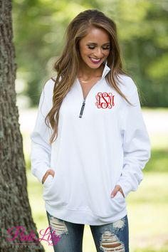 These beautiful quarter zips are your newest favorite for relaxing all season long! The soft sweatshirt material is so wonderful for wearing all day long, while the classic white color is simply perfect for any season!