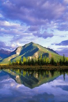 Sulphur Mountain reflected in the Third Vermillion Lake. Banff National Park, Alberta, Canada ©Jerry Mercier
