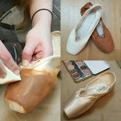 Pancaking pointe shoes to play with different products and colors from Kryolan. How do you pancake your shoes? Instagram.com/allegroboutique