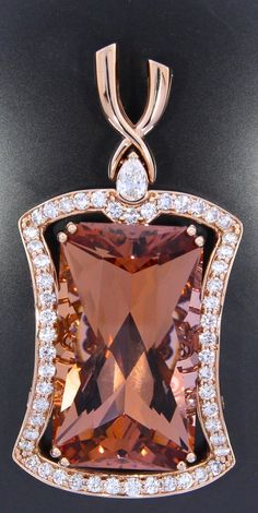 exquisite morganite pendant custom made in rose gold with antique style scrollwork designed at Craft-Revival Jewelers