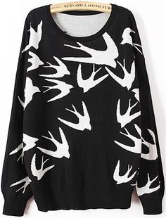 Black Long Sleeve Swallow Print Knit Sweater