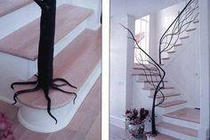 Metal tree trunk stair railing!