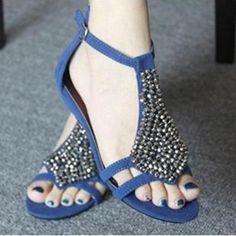 Shoepie Cheap Rinestone Flat Sandal